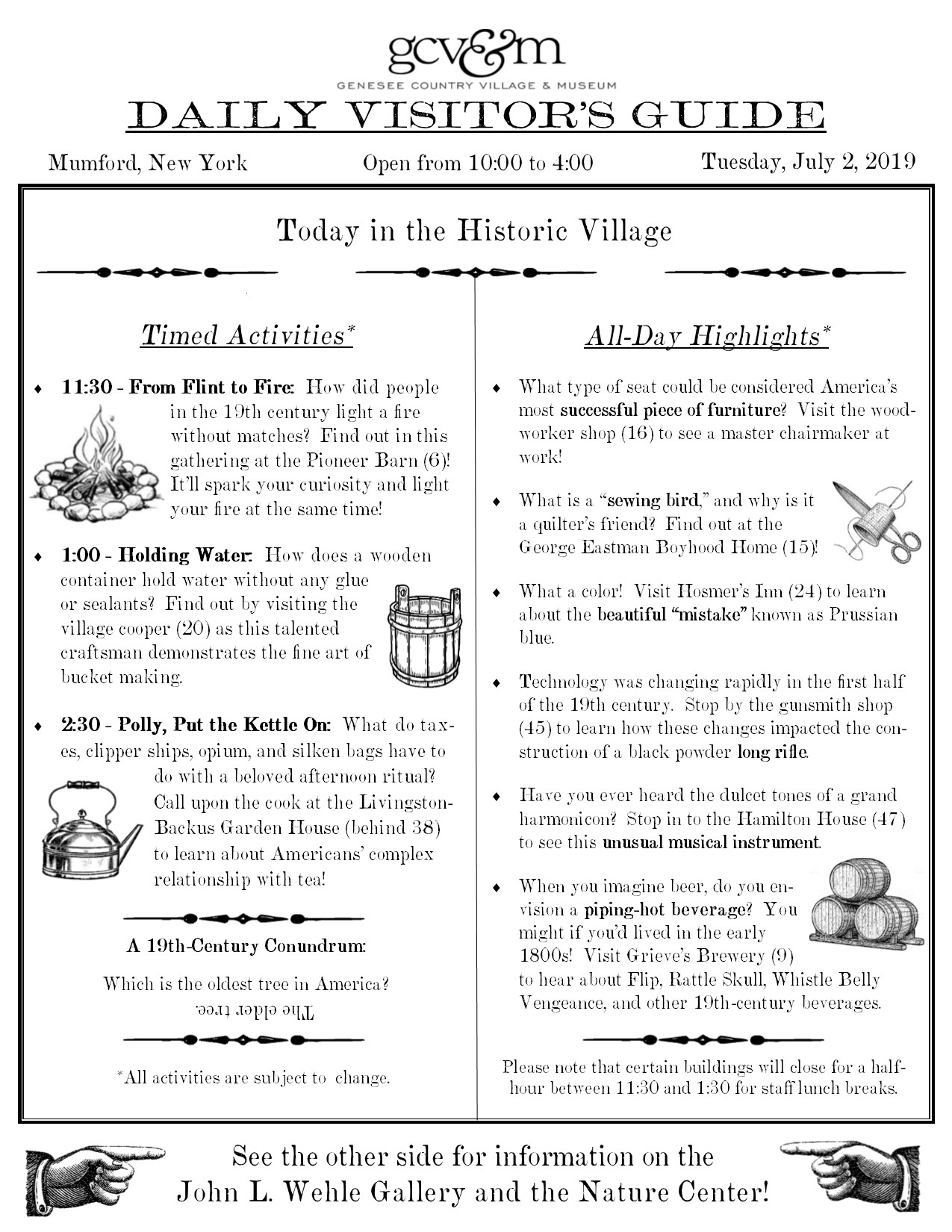 What's Happening today - Tuesday, July 2 | Genesee Country Village